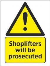 """Shoplifters Will Be Prosecuted"" WARNING STICKER DECAL SIGN A5 SHOP OFFICE"